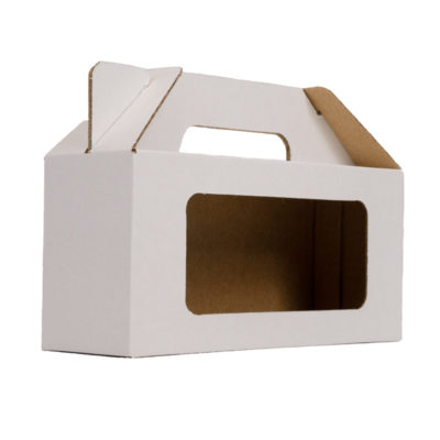 White carry handle box